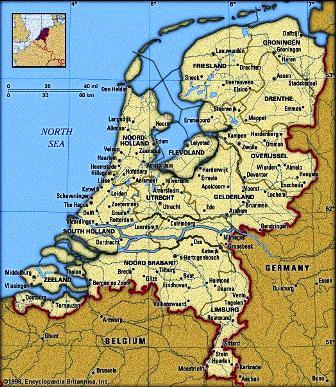 Bản đồ đất nước Hà Lan - giáp Đức và Bỉ