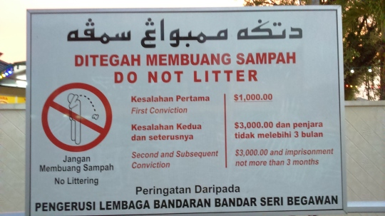 Xả rác bị phạt nặng ở Brunei