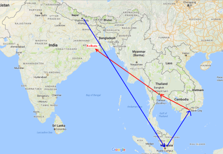 Bay đi: Saigon - Bangkok - Kolkata. Bay về: Kathmandu - Kuala Lumpur - Saigon